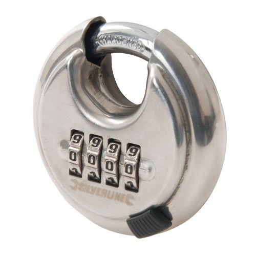 Silverline 926157 Stainless Steel Combination Disc Padlock 4 Digit 70mm
